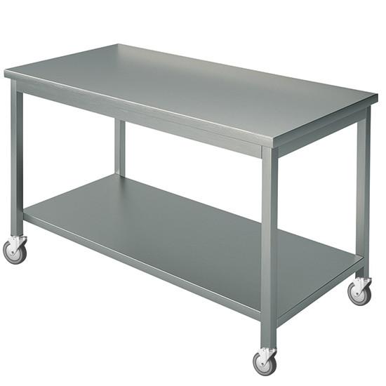 Arbeitstisch, mit 4 Aufkantungen, mit Zwischenboden, auf Rädern, 1500x900 mm