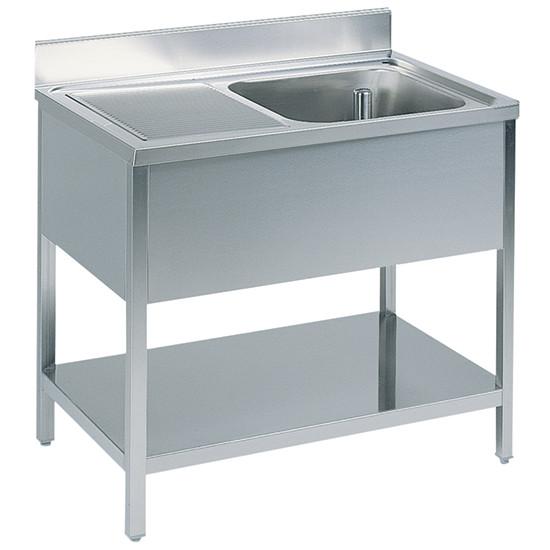 Arbeitstisch mit Becken rechts, mit Zwischenboden, mit Aufkantung, 1800x600 mm