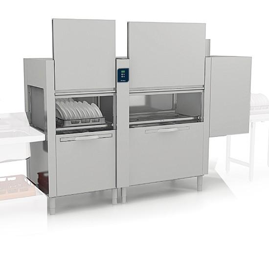 Korbtransportmaschine mit Vorwasch-, Wasch- und Nachspülzone, 270 Körbe/ Stunde