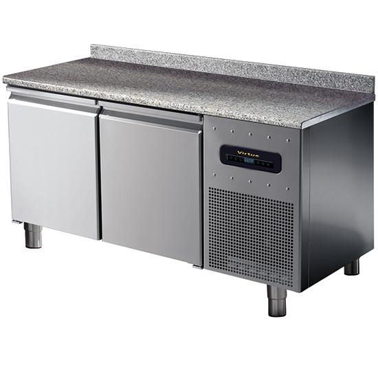 Bäckereikühltisch 2-türig 600x400 mm mit Granitarbeitsplatte und Aufkantung