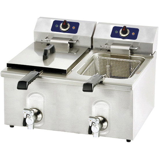 Elektro-Friteuse mit Ablasshahn, Tischmodell, 12+12 Liter