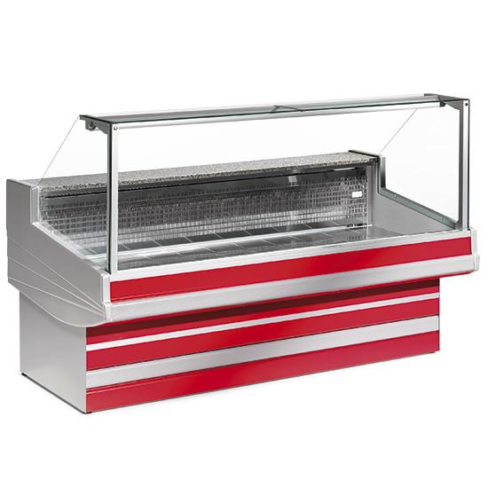 Fleischkühltheke mit gerader Scheibe, statische Kühlung, B=3000 mm
