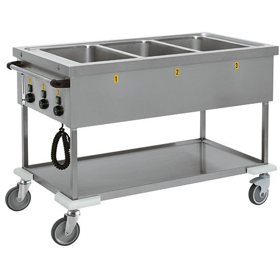 Bain Marie-Wagen mit Zwischenboden, 3 Becken, 3 Temperaturen, 3x GN 1/1