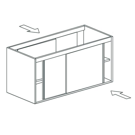 Arbeitsschrank, beidseitig bedienbar, mit Schiebetüren, 2100x700 mm