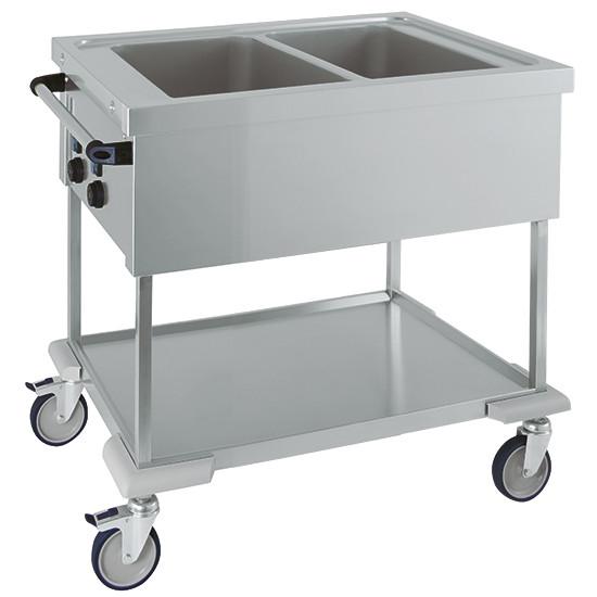 Bain Marie-Wagen mit Zwischenboden, 2 Becken, 2 Temperaturen, 2x GN 1/1