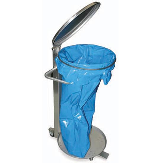 Abfallkorb für 100 Liter Säcke, aus Edelstahl mit Deckel
