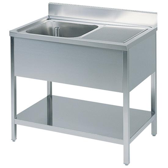Arbeitstisch mit Becken links, mit Zwischenboden, mit Aufkantung, 1000x700 mm
