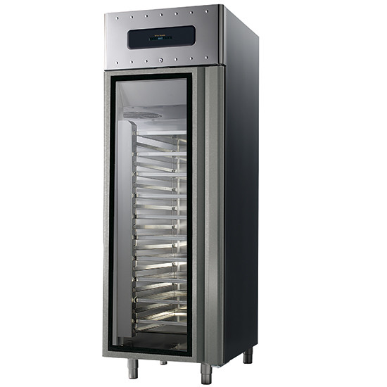 Bäckereitiefkühlschrank 600x400 mm 700 Liter aus Edelstahl mit Glastür, -10 °C/-30 °C