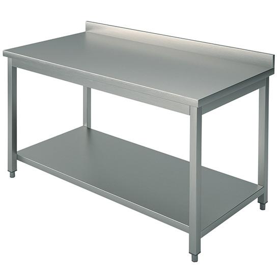 Arbeitstisch, auf Beinen 40x40 mm, mit Zwischenboden, mit Aufkantung, 2600x800 mm