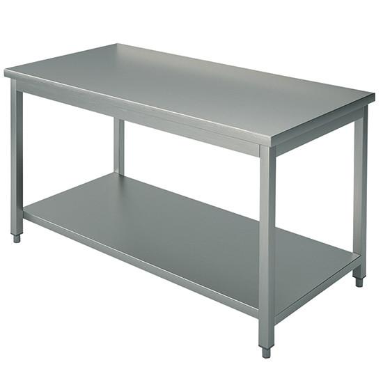 Arbeitstisch, auf Beinen 40x40 mm, mit Zwischenboden, ohne Aufkantung, 2400x1200 mm